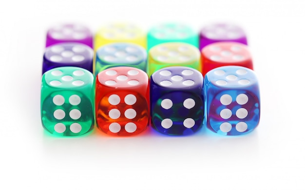 Many different colored dice