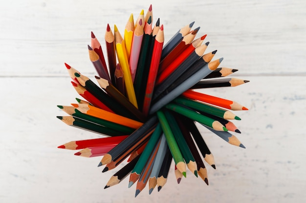 Many different colored pencils with white background
