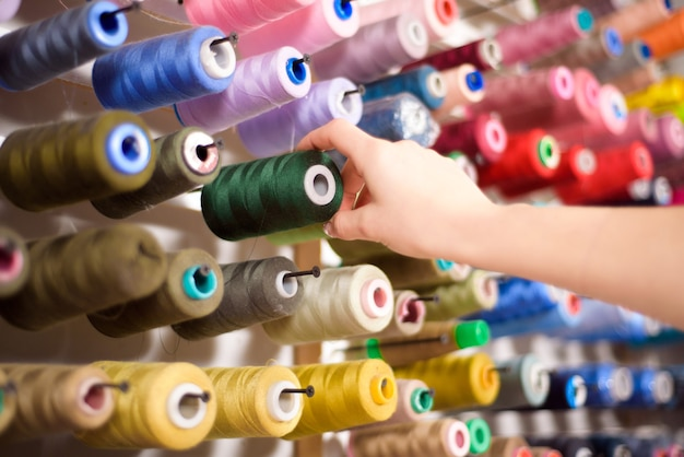 Many different colors in a sewing atelier.