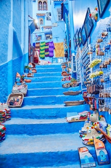 Many different souvenirs and gifts in the streets of chefchaouen