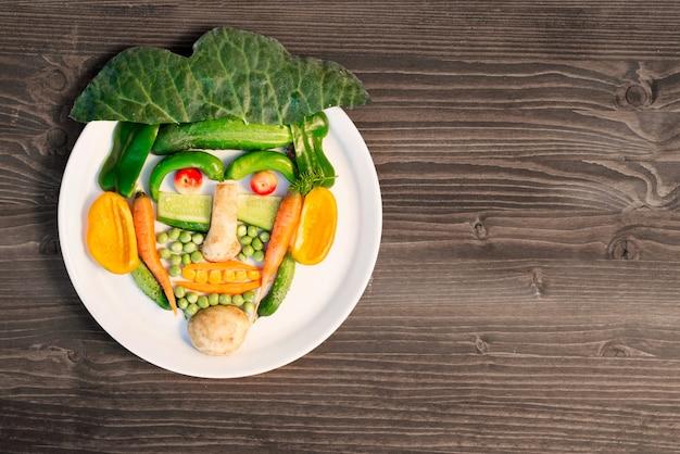 Много разных овощей выложено на тарелку