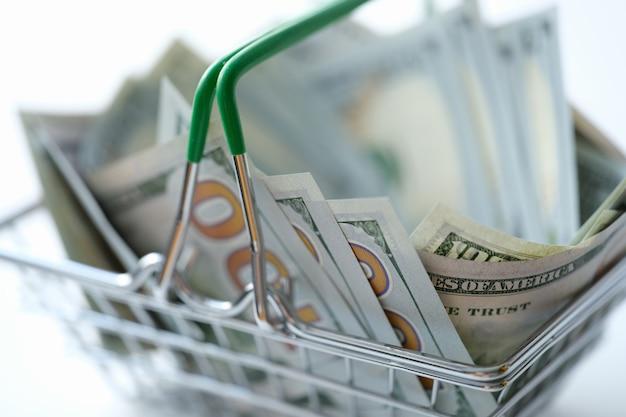 おもちゃの金属の食料品バスケットのクローズアップに横たわっている多くのドル紙幣