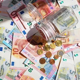 Many dollar and euro banknote
