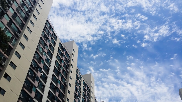 Many floors have beautiful blue skies as background.