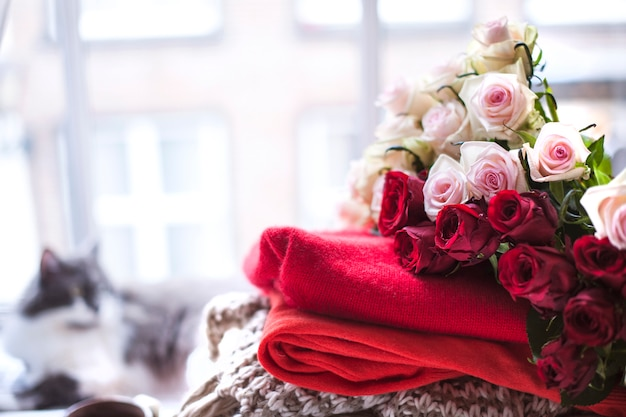 Many flowers of roses. different warm clothes and slippers near the window and a cat. sweaters for autumn and winter. tea and a cat. free space for text