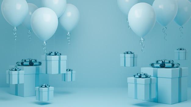 많은 선물 상자 풍선 및 블루 리본 파스텔 배경으로 공기에 비행.