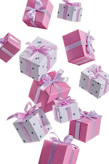 Many gift boxes are flying