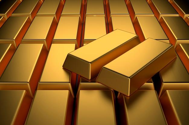 Много золотых слитков для фона