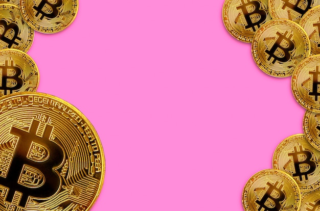 Many golden bitcoins with copy space, cryptocurrency mining concept background