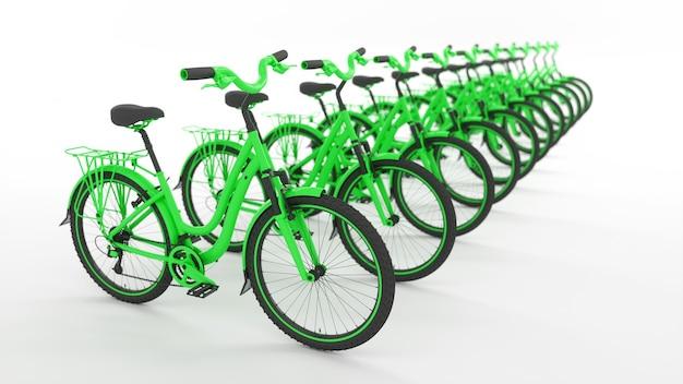 Многие зеленые велосипеды, стоящие в прямом ряду, 3d иллюстрация