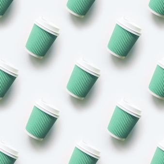 Many green cup of coffee cups as seamless pattern