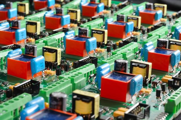 Many green pcb microcircuit board