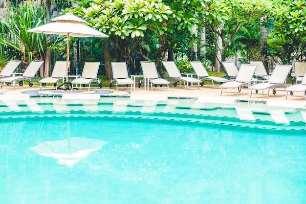 Many hammocks near to large pool