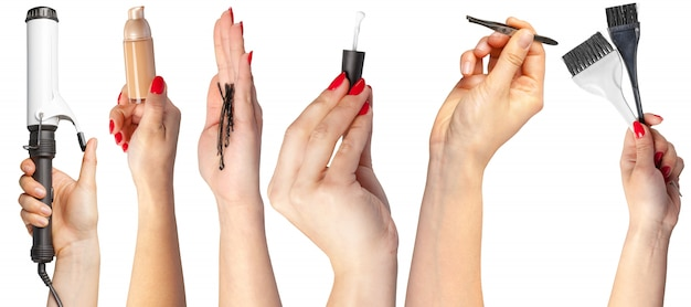 Many hands with make up items