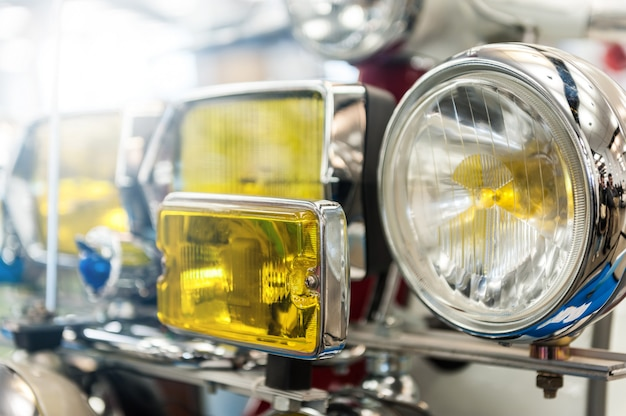 Many headlights of a powerful motorbike