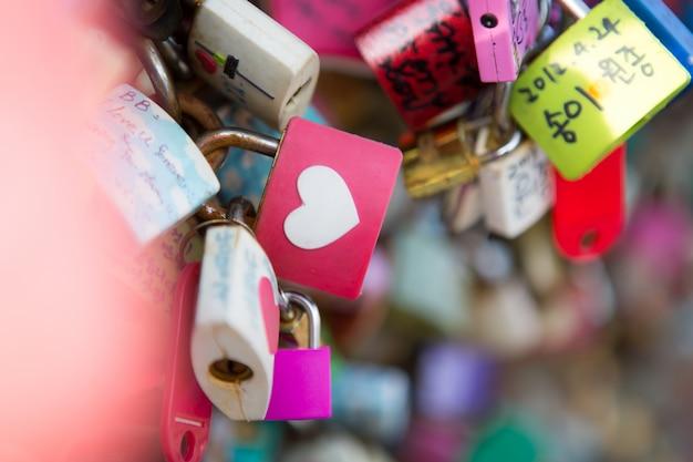 Many heart padlocks love symbol