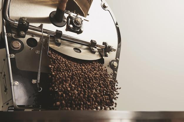 많은 뜨거운 갓 구운 커피 원두가 최고의 전문 대형 커피 로스터에서 떨어집니다.