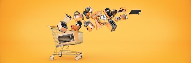 ショッピングカートの3dレンダリングに落ちる多くのキッチン家電