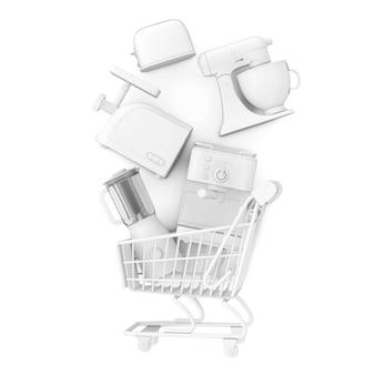 白い背景の上の粘土スタイルのショッピングカートに落ちる多くのキッチン家電。 3dレンダリング