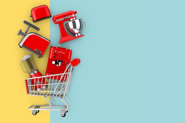 黄色と青の背景にショッピングカートに落ちる多くのキッチン家電。 3dレンダリング