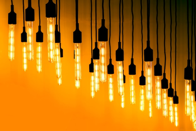 Many lighted bulbs. concepts of ideas, possibilities, chances.