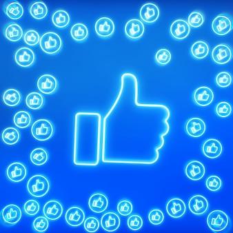 Многим нравятся значки в неоновом цвете с большим «лайком» в центре на синем фоне с местом для текста. концепция социальных сетей.
