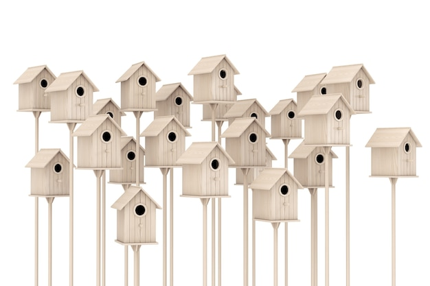 Many little wooden birdhouses on a white background. 3d rendering.