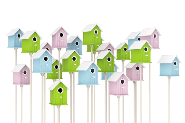 Many little wooden multicolor birdhouses on a white background. 3d rendering.