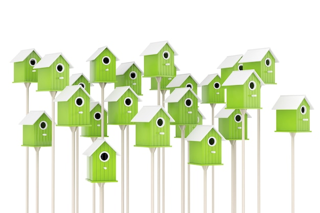 Many little wooden olive birdhouses on a white background. 3d rendering.