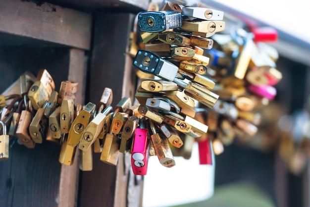 Many love locks on the bridge in venice