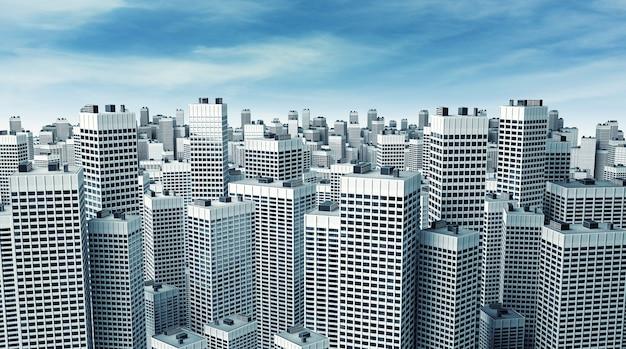 Многие современные офисные здания образуют блок на фоне красивого голубого неба.