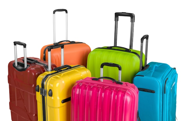 Many multi-colored big suitcases