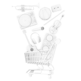 Many musical instruments falling in shopping cart in clay style on a white background. 3d rendering
