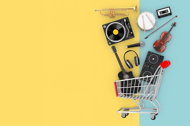 Many musical instruments falling in shopping cart on a yellow and blue background. 3d rendering