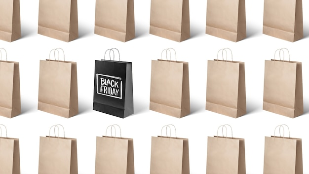 Many paper bags, black friday