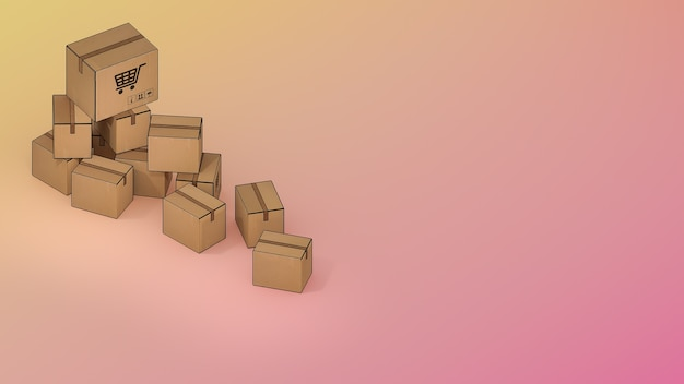 多くの小包ボックス。、オンラインモバイルアプリケーション注文輸送サービスとオンラインショッピングと配信コンセプト。、3dレンダリング。