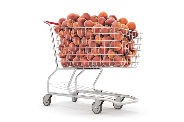 Many peaches in a shopping cart on the white background. 3d rendering