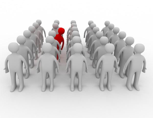 Многие люди в рядах, но один ведет себя иначе