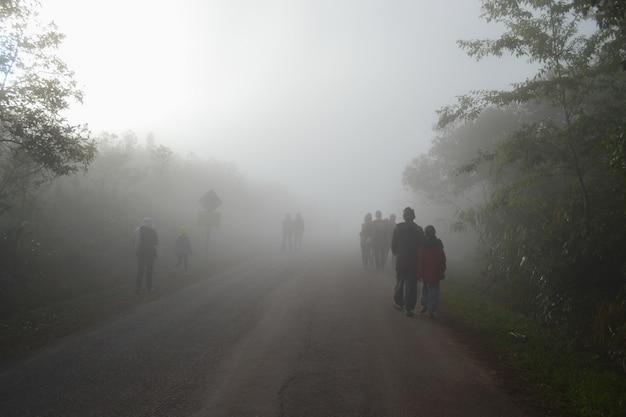 Many people walk on foggy streets.