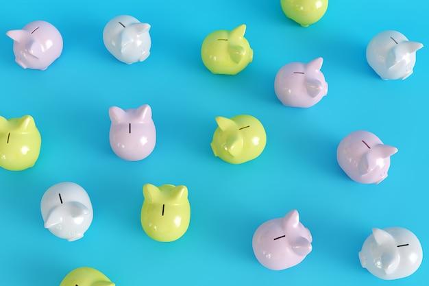 Many piggy bank. top view. minimal concept ideas.3d render.