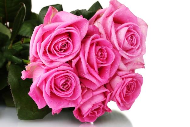白地にピンクのバラがたくさん