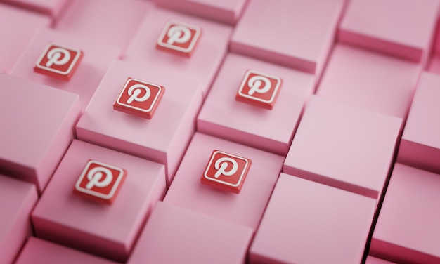 Many pinterest logos on pink cubes
