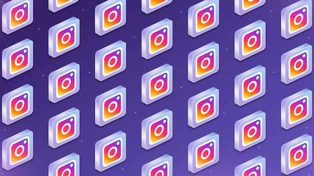 인스타그램 소셜 네트워크 로고 아이콘 3d가 있는 많은 플랫폼