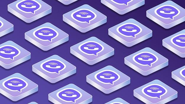 Viberソーシャルネットワークのロゴアイコン3dを備えた多くのプラットフォーム