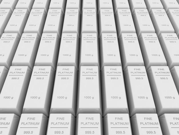 Многие платиновые слитки или слитки, 3d-рендеринг
