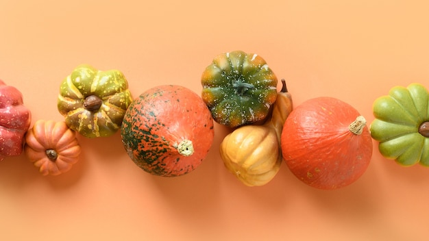 Many pumpkins in raw on orange background for thanksgiving day or halloween. banner.