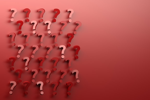 Many randomly arranged red question marks on red background.