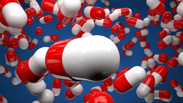 青い背景dイラストで空中に浮かぶ多くの赤と白の薬の丸薬