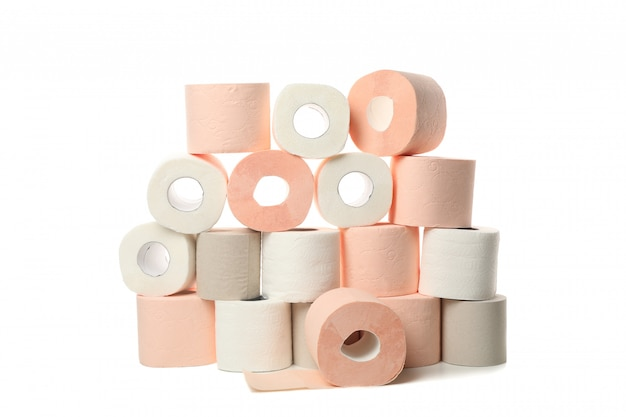 Many rolls of toilet paper isolated