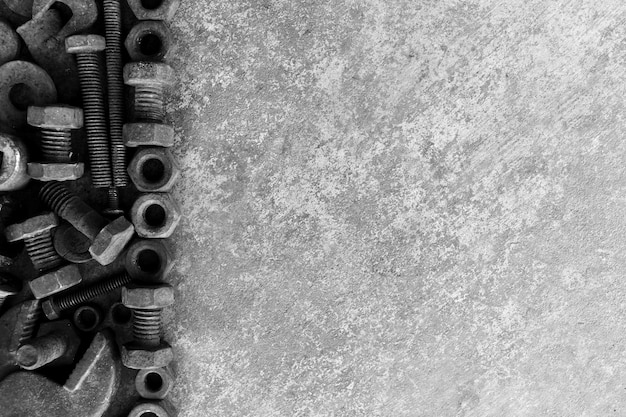 Many rust steel on cement ground in black and white